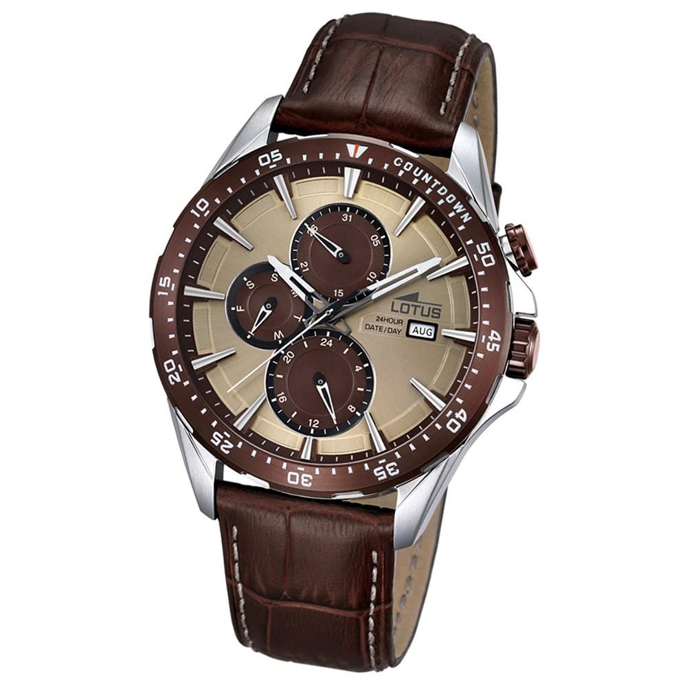 LOTUS Herren-Armbanduhr Analog Quarz Leder braun UL18312/2