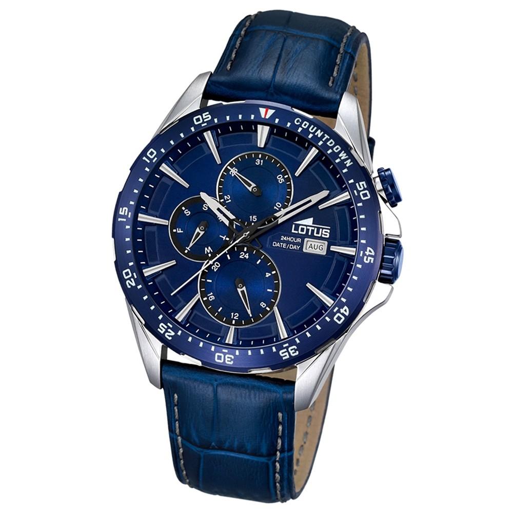 LOTUS Herren-Armbanduhr Sport Analog Quarz-Uhr Leder blau UL18312/3