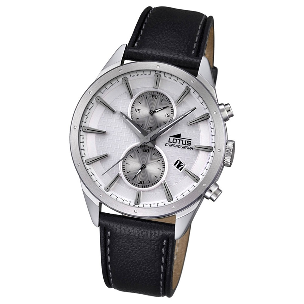 LOTUS Herren-Armbanduhr Khrono Chronograph Quarz-Uhr Leder schwarz UL18313/1