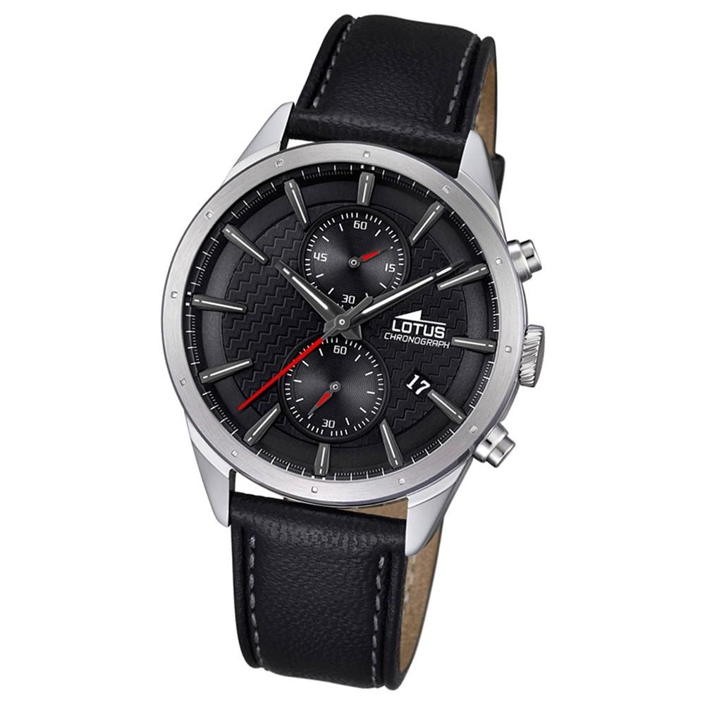 LOTUS Herren-Armbanduhr Khrono Chronograph Quarz-Uhr Leder schwarz UL18313/2