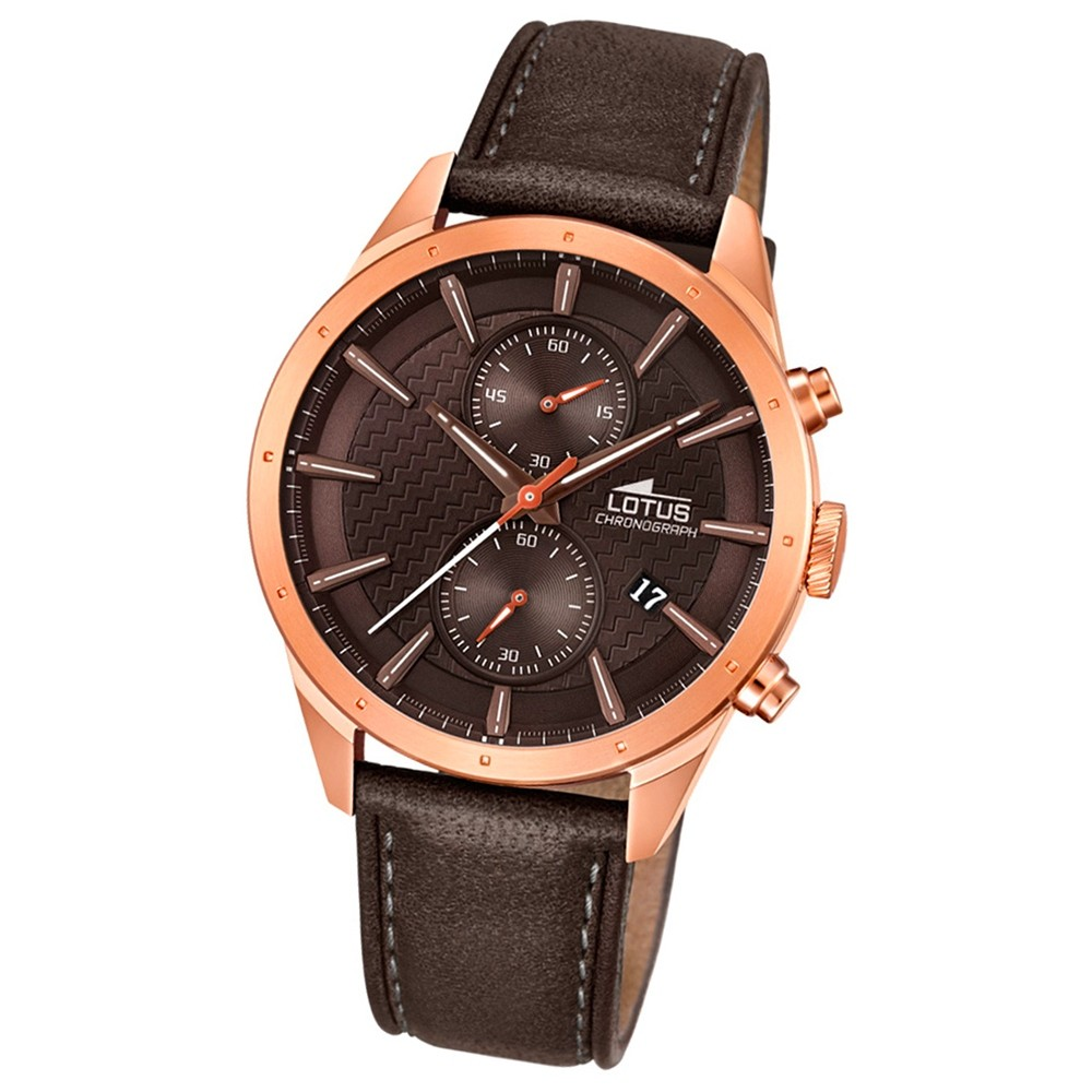 LOTUS Herren-Armbanduhr Khrono Chronograph Quarz-Uhr Leder braun UL18314/1
