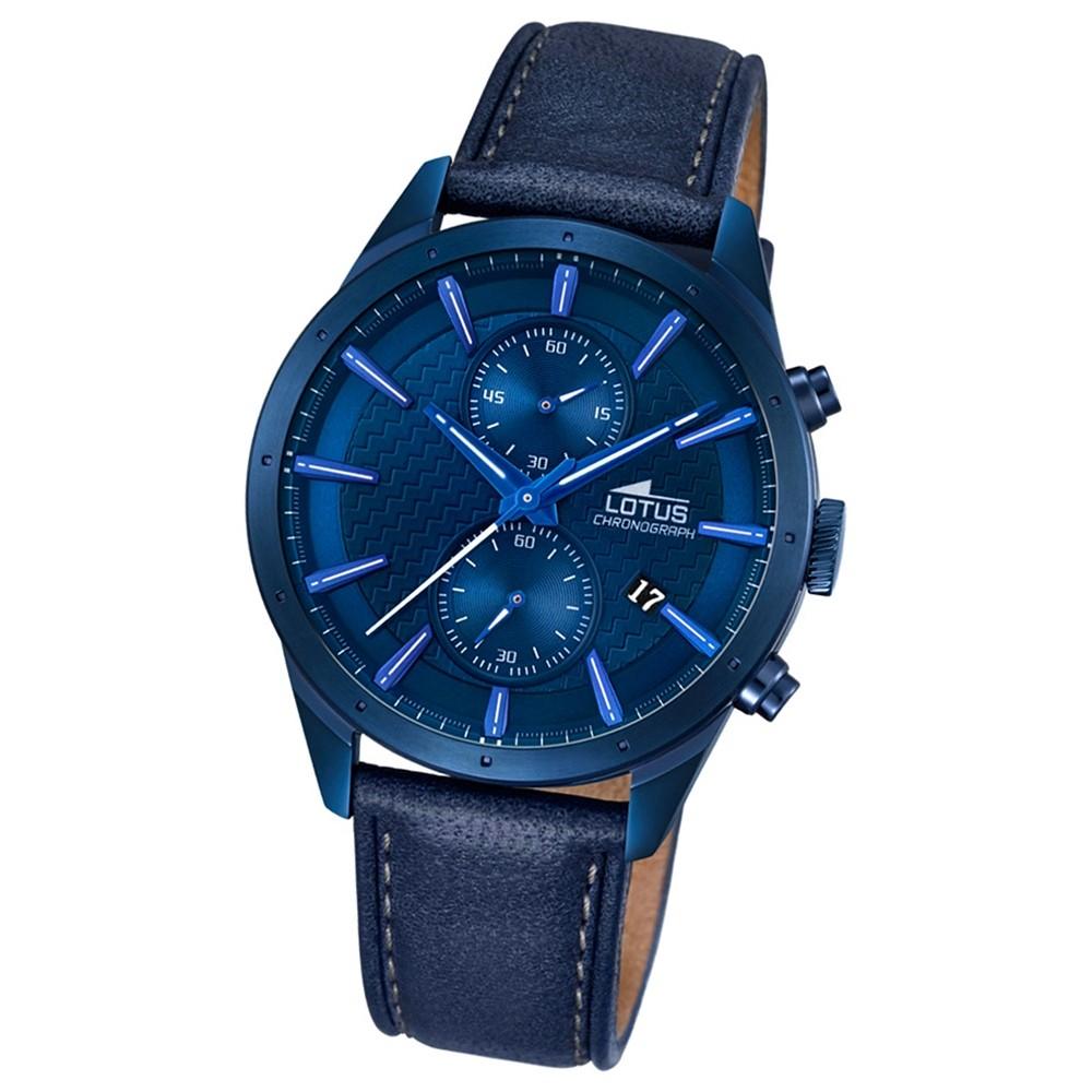 LOTUS Herren-Armbanduhr Khrono Chronograph Quarz-Uhr Leder blau UL18315/1