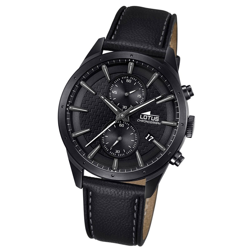 LOTUS Herren-Armbanduhr Khrono Chronograph Quarz-Uhr Leder schwarz UL18317/1