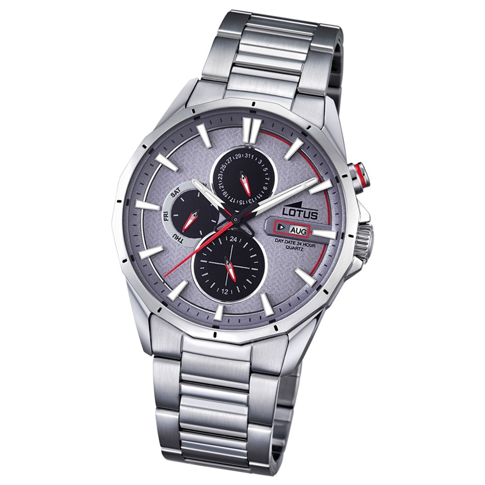 LOTUS Herren-Armbanduhr Sport Analog Quarz-Uhr PU silber UL18319/3