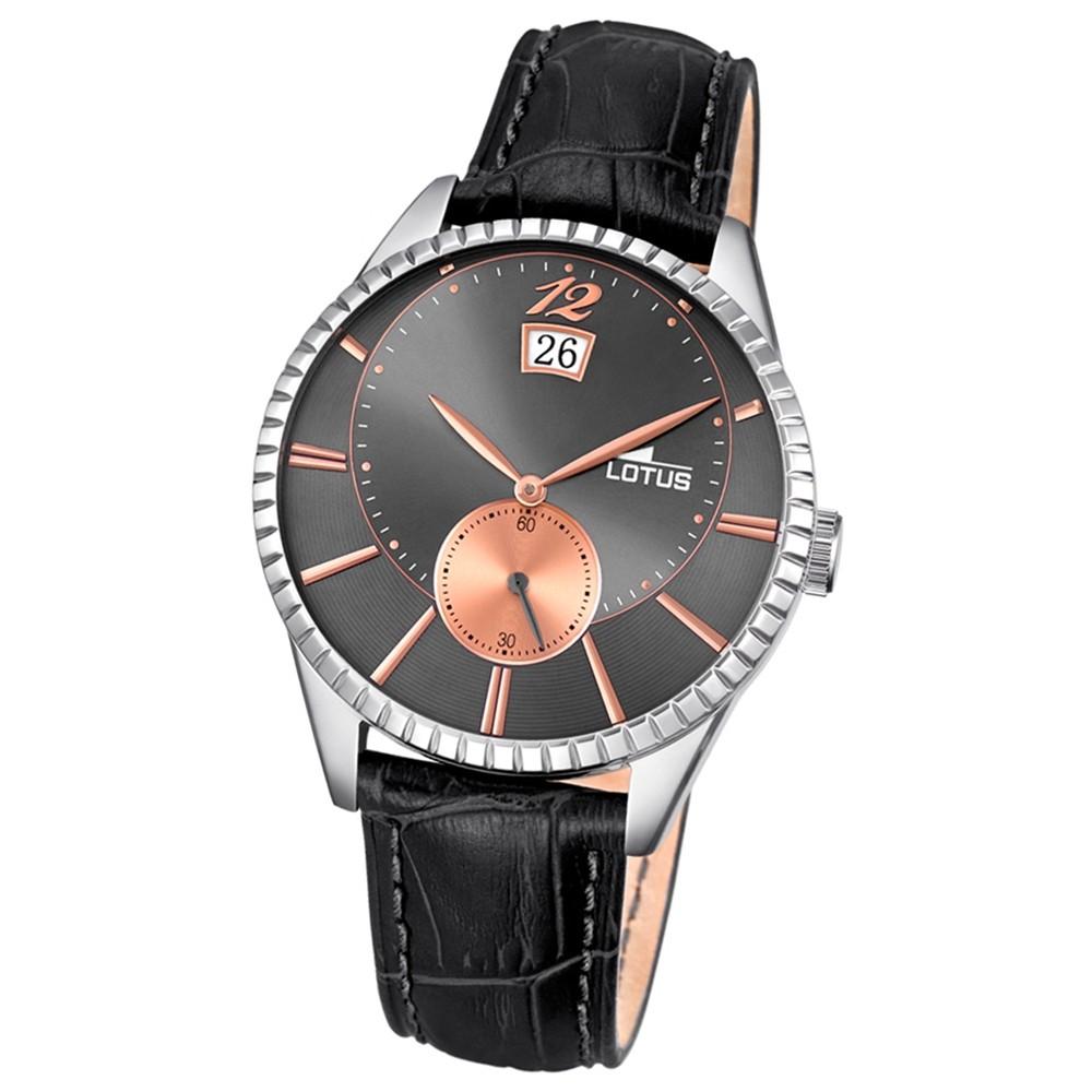 LOTUS Herren-Armbanduhr Analog Quarz Leder schwarz UL18322/3