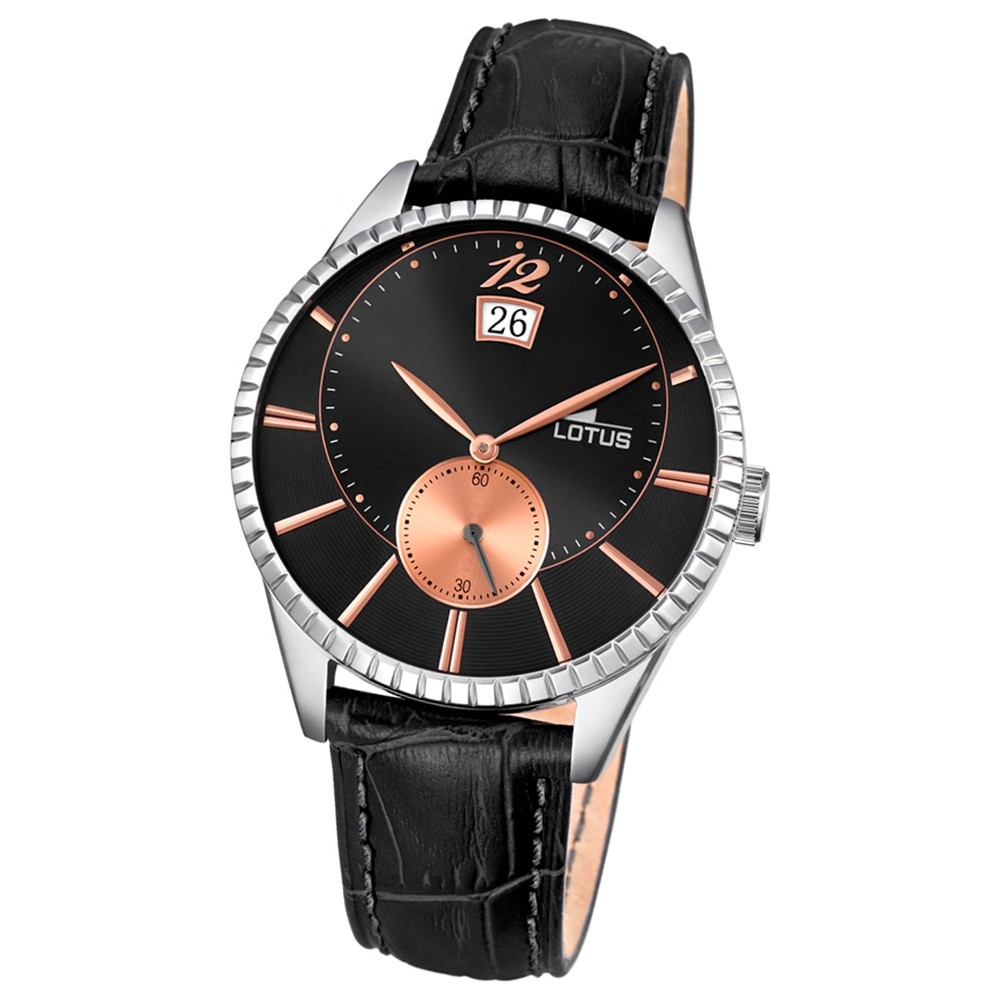LOTUS Herren-Armbanduhr Elegant Analog Quarz-Uhr Leder schwarz UL18322/6