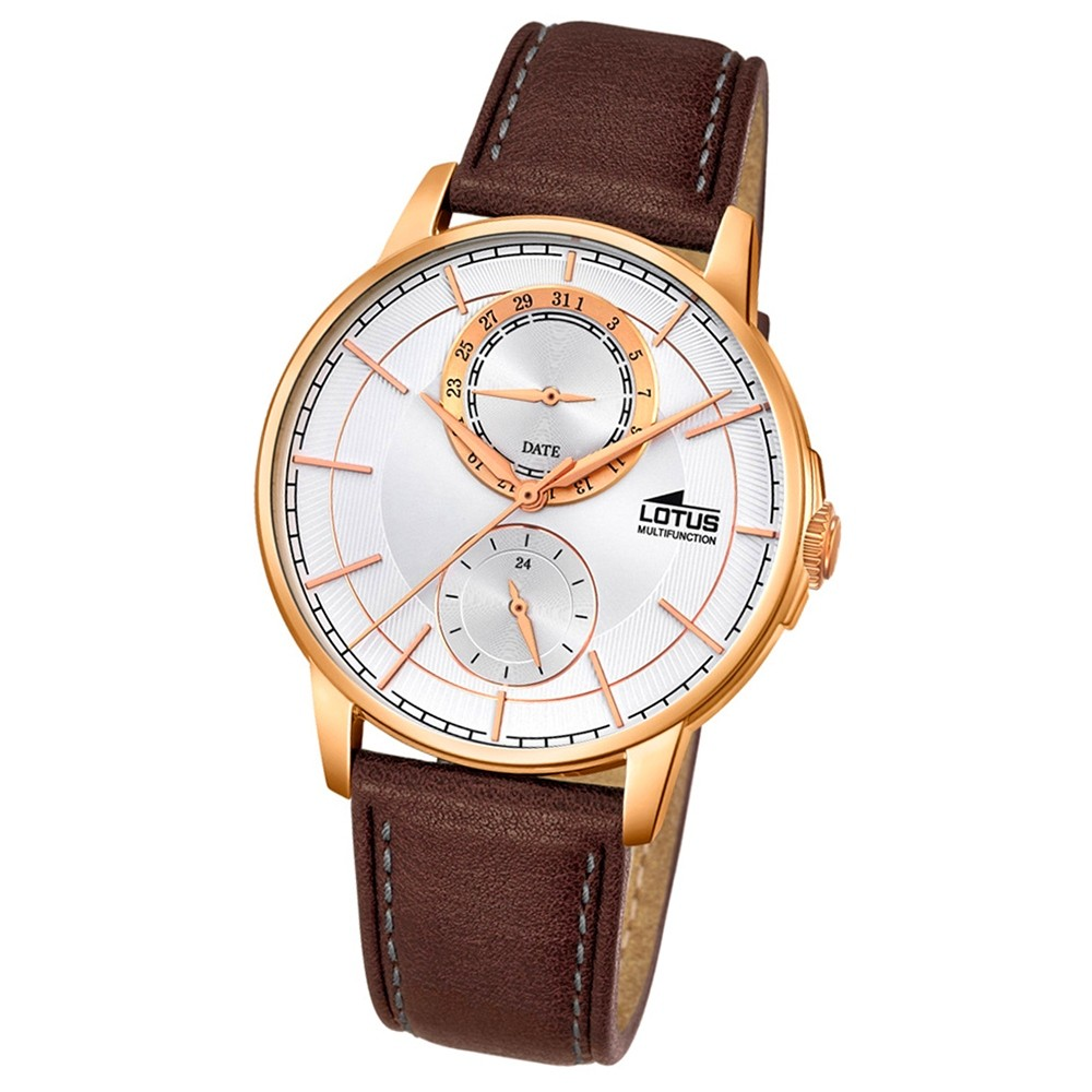 LOTUS Herren-Armbanduhr Multifunktion Analog Quarz-Uhr Leder braun UL18324/1