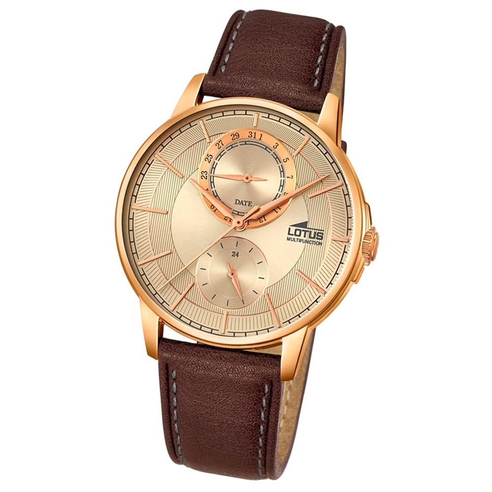 LOTUS Herren-Armbanduhr Multifunktion Analog Quarz-Uhr Leder braun UL18324/2