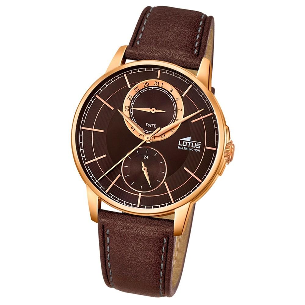 LOTUS Herren-Armbanduhr Multifunktion Analog Quarz-Uhr Leder braun UL18324/3