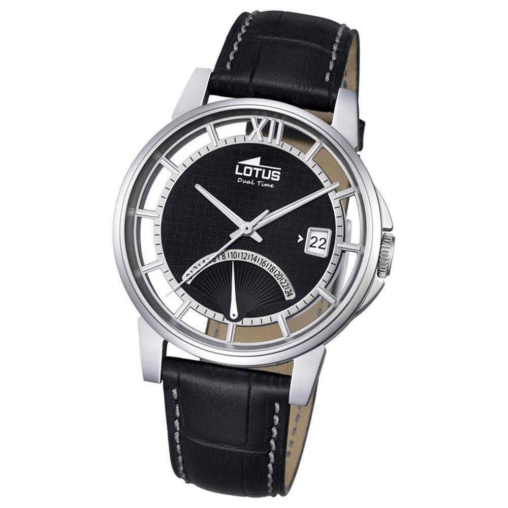 LOTUS Herren Damen-Uhr Minimalist Transparent Quarz Leder schwarz UL18325/2