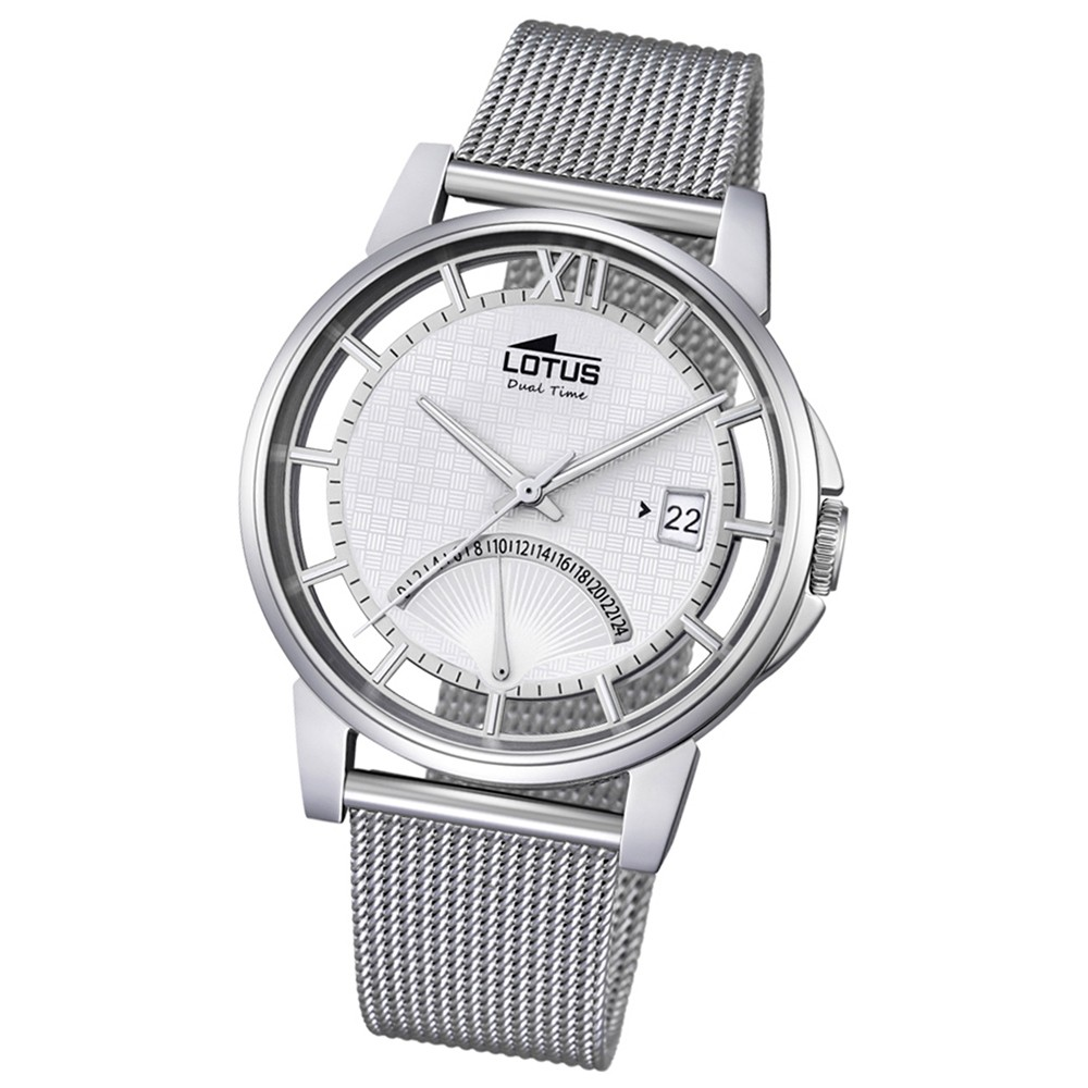 LOTUS Herren Damen-Uhr Minimalist Transparent Quarz Edelstahl silber UL18326/1