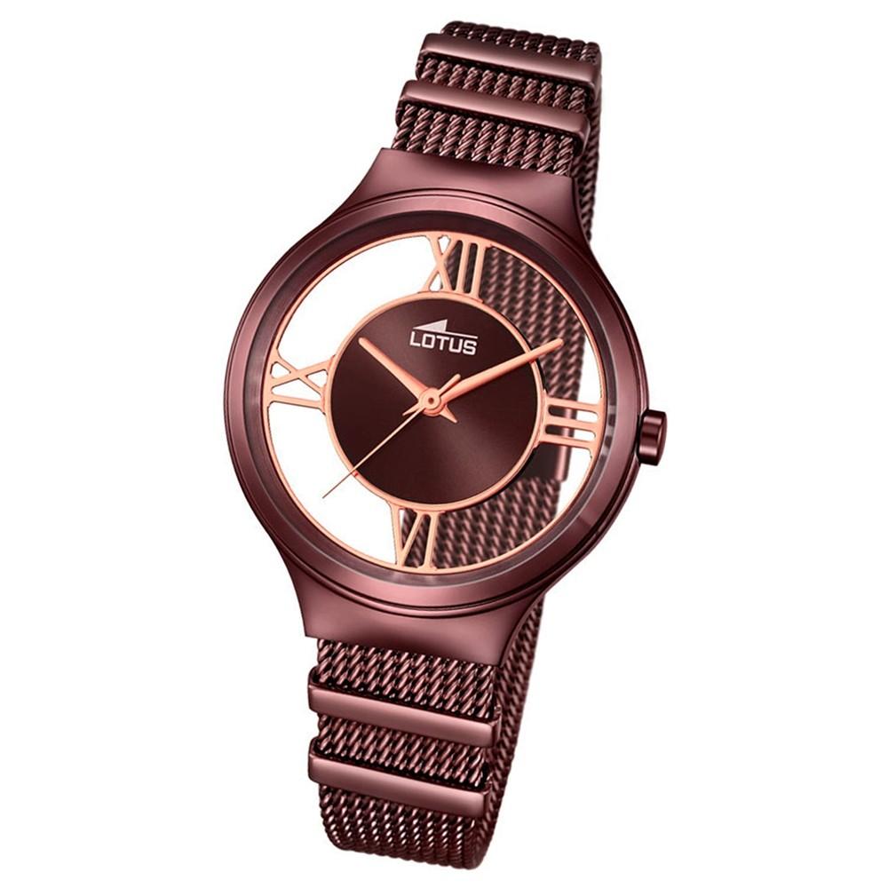 LOTUS Damen-Uhr transparent Trendy Analog Quarz Edelstahl braun UL18336/1