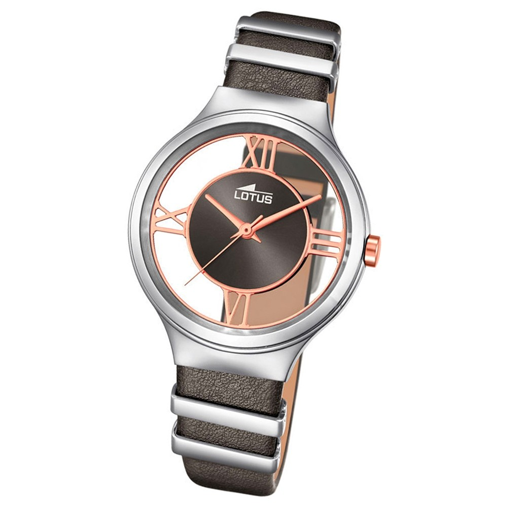 LOTUS Damen-Uhr transparent Trendy Analog Quarz Leder grau stahl UL18337/1