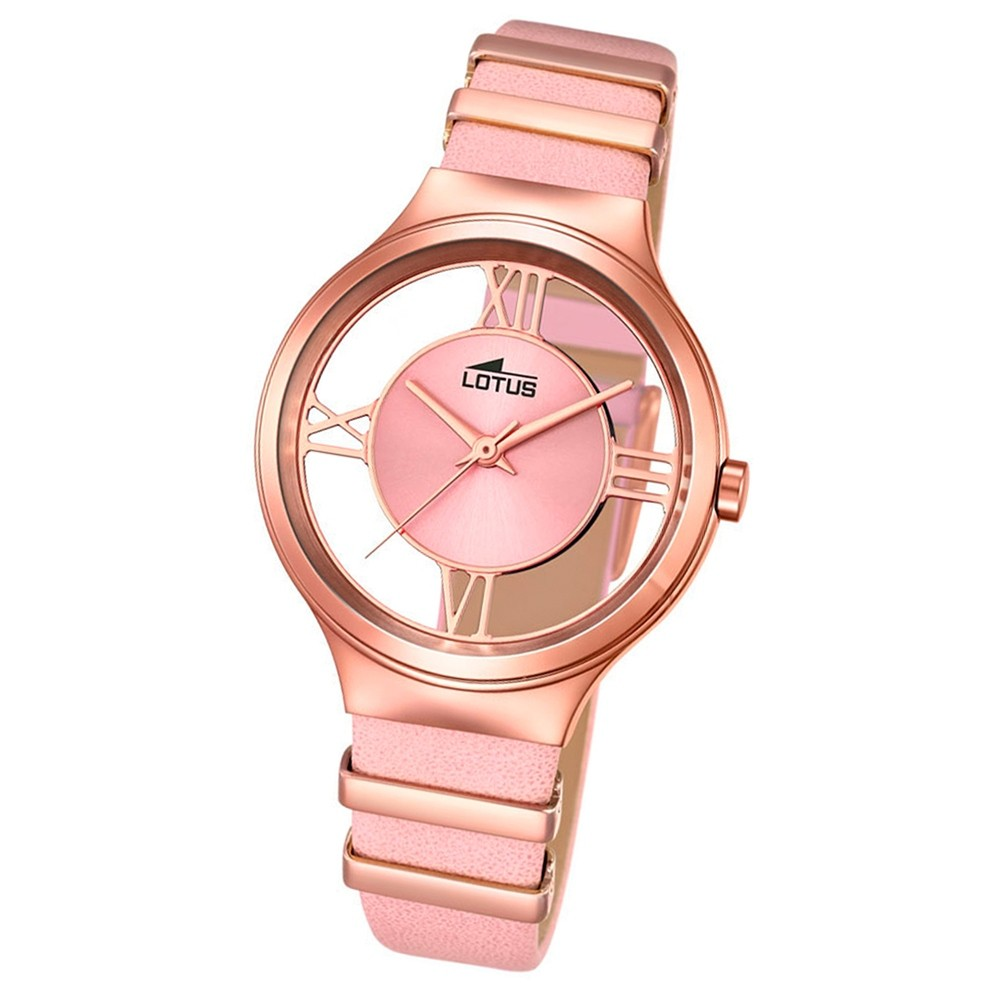 LOTUS Damen-Uhr transparent Trendy Analog Quarz Leder rosa rosegold UL18338/1