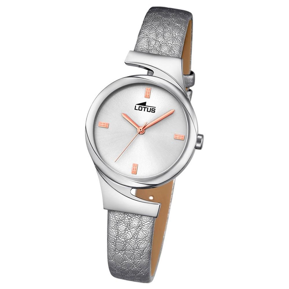 LOTUS Damen-Armbanduhr Elegant Analog Quarz-Uhr Leder silber UL18342/1