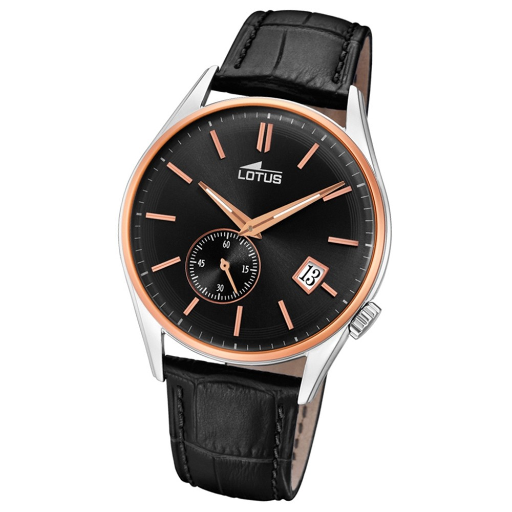 Lotus Herren-Armbanduhr Leder schwarz 18356/3 Quarz Retro UL18356/3