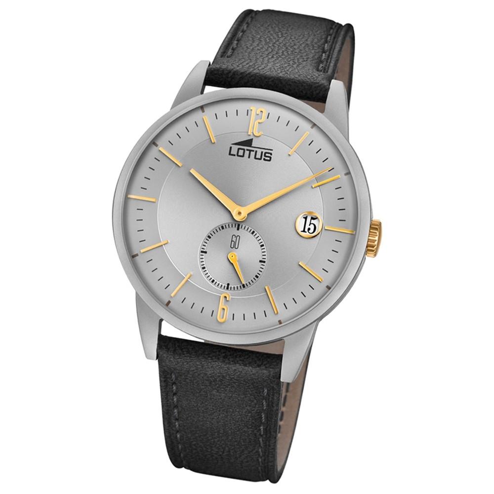 Lotus Herren-Armbanduhr Leder grau 18361/1 Quarz Minimalist UL18361/1