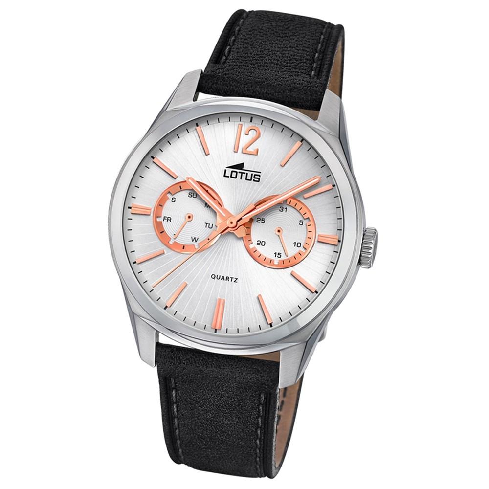 Lotus Herren-Armbanduhr Leder schwarz 18374/1 Quarz Multifunktion UL18374/1