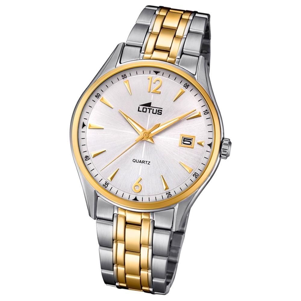 Lotus Herren-Uhr Edelstahl silber gold 18376/1 Quarz Classic UL18376/1