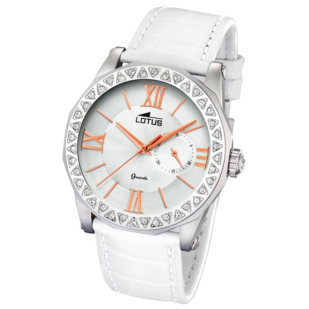 Lotus Damen-Armbanduhr Leder weiß 18401/1 Quarz Trendy UL18401/1
