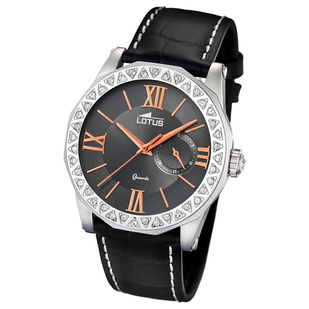 Lotus Damen-Armbanduhr Leder schwarz 18401/2 Quarz Trendy UL18401/2