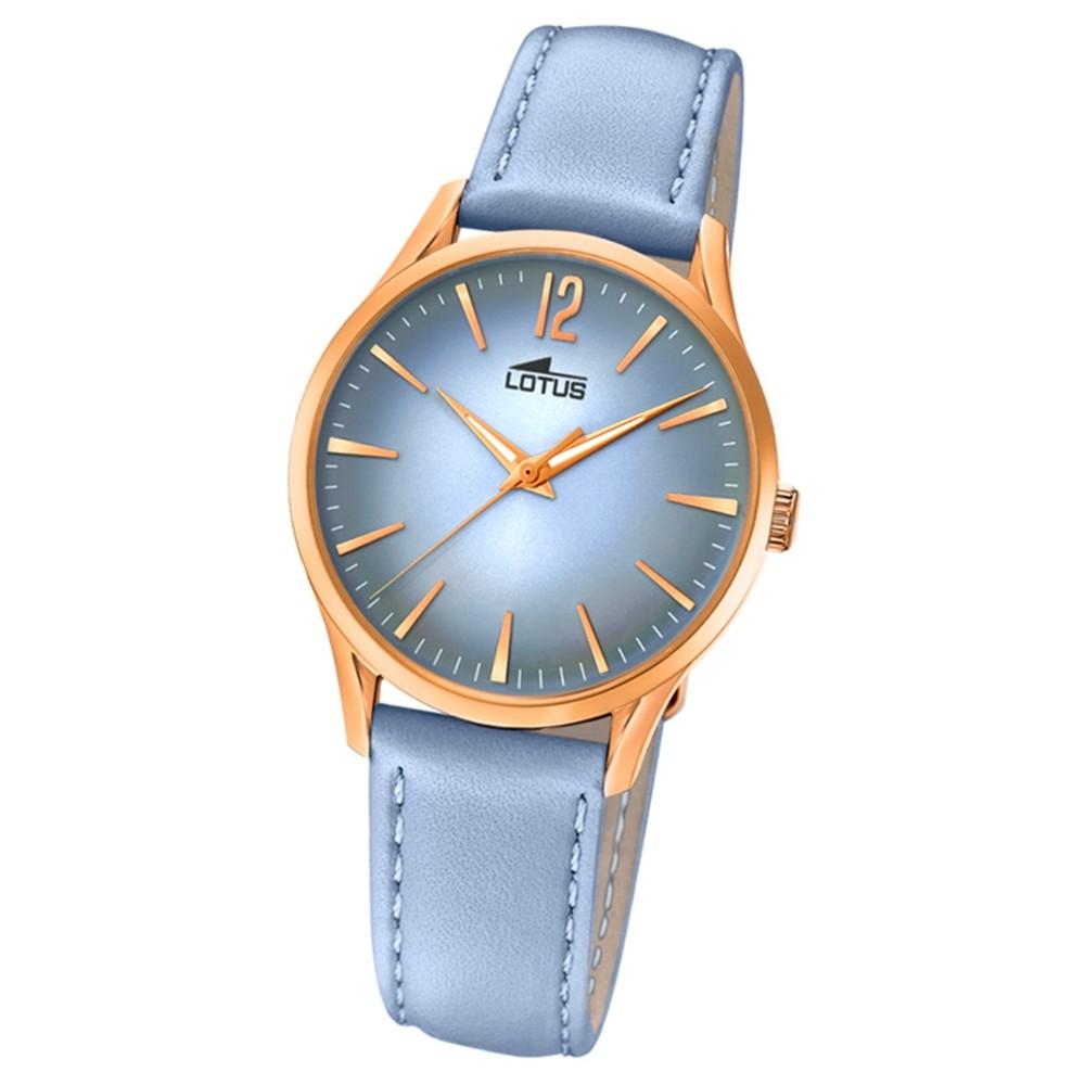 Lotus Damen-Armbanduhr Leder hellblau 18407/3 Quarz Revival UL18407/3