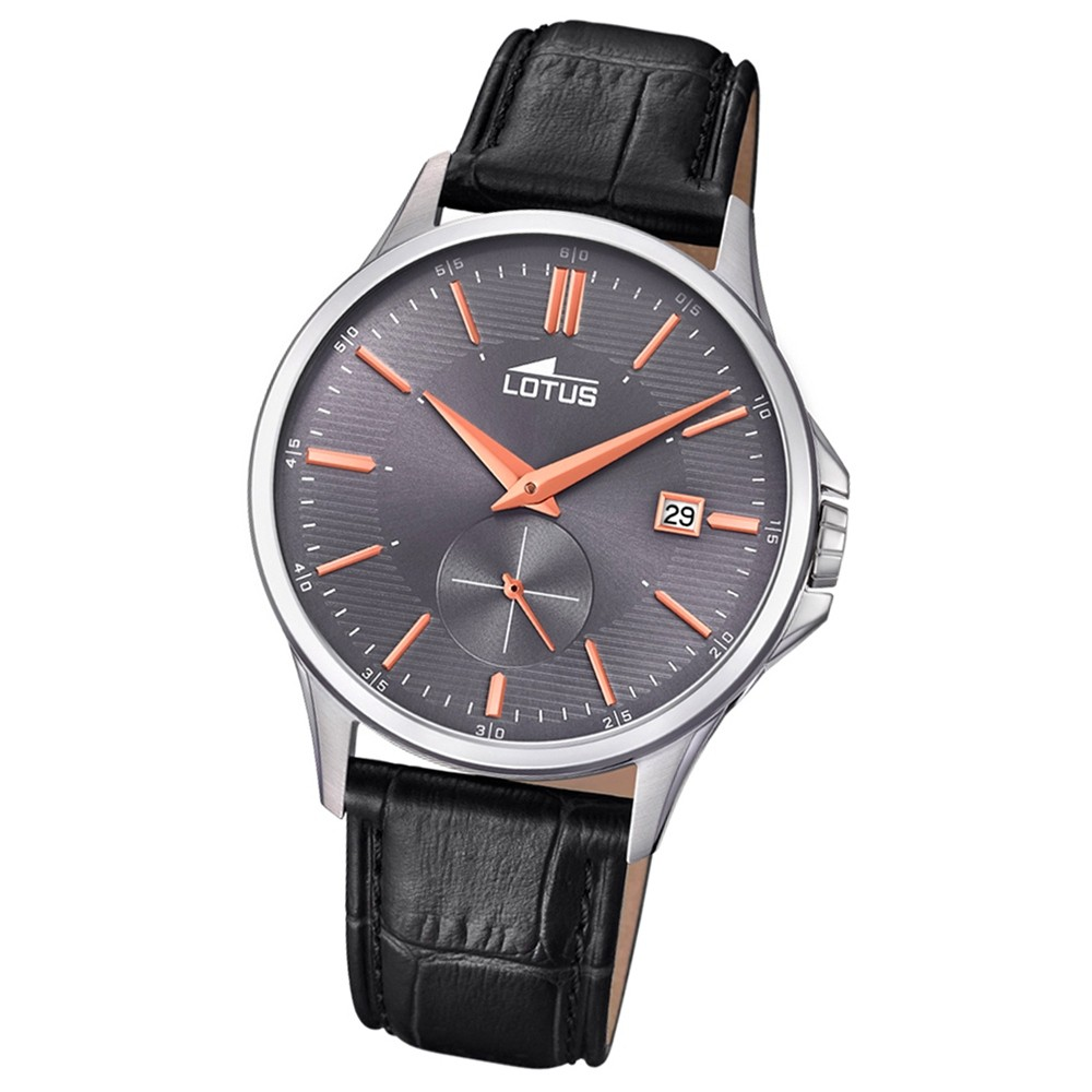 Lotus Herren-Armbanduhr Leder schwarz 18424/3 Quarz Retro UL18424/3