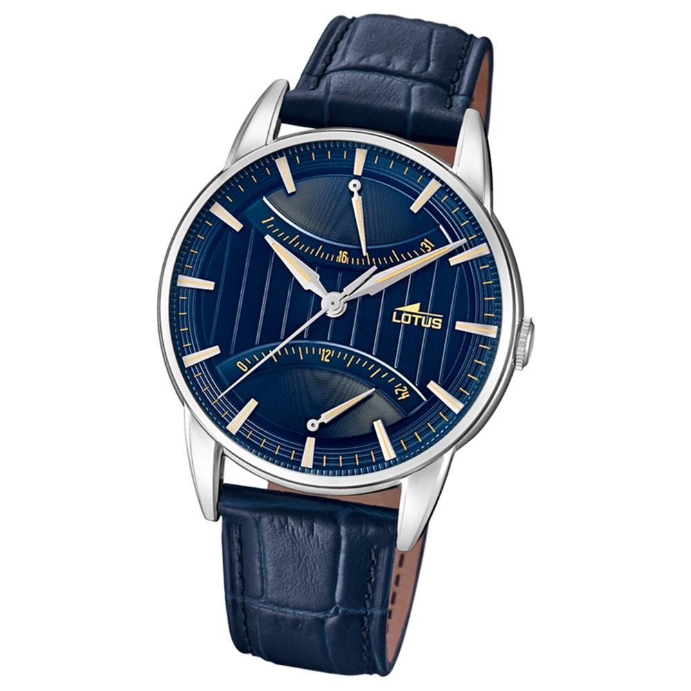 Lotus Herren-Armbanduhr Leder blau 18429/3 Quarz Retro UL18429/3