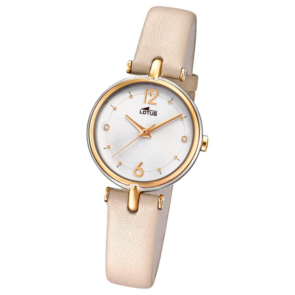 Lotus Damen-Armbanduhr Leder creme hellbraun 18459/1 Quarz Bliss UL18459/1