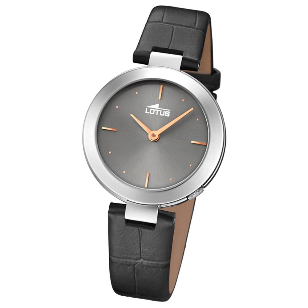 Lotus Damen-Armbanduhr Leder schwarz 18483/2 Quarz Minimalist UL18483/2