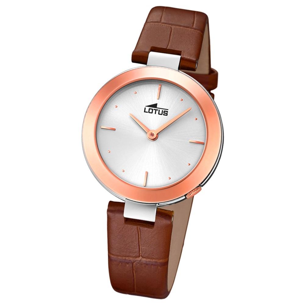 Lotus Damen-Armbanduhr Leder braun 18485/1 Quarz Minimalist UL18485/1