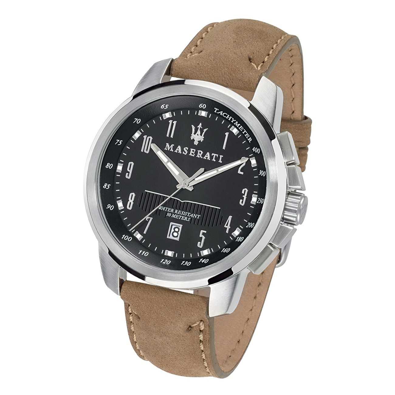 Maserati Herren Armbanduhr Successo Analog Leder beige UMAR8851121004