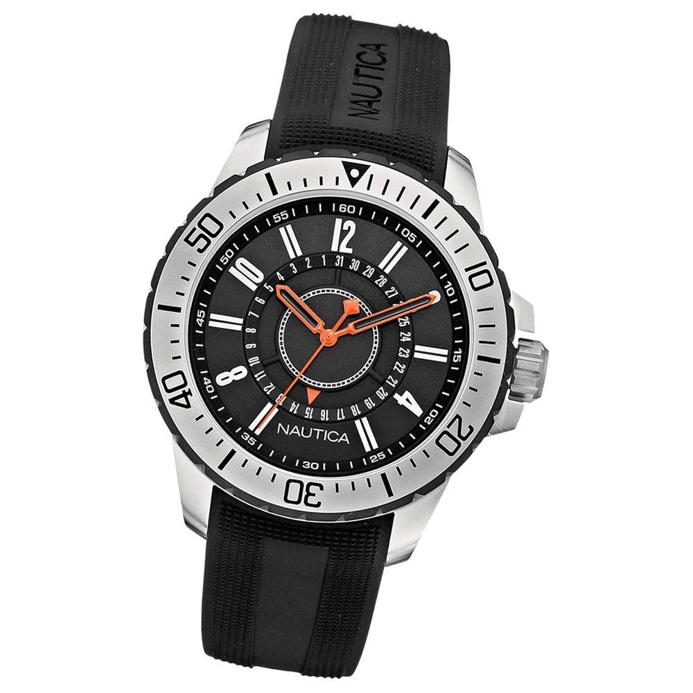 NAUTICA Herren-Armbanduhr Mineralglas Quarz Silikon/Kautschuk schwarz UNA14661G
