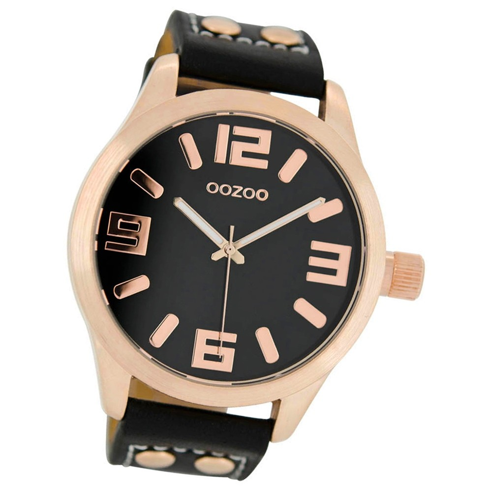 oozoo damenuhr schwarz rosegold 46mm uhr mit leder. Black Bedroom Furniture Sets. Home Design Ideas
