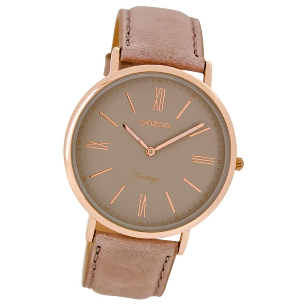 Oozoo Damen-Armbanduhr Ultra Slim Mineralglas Quarz Leder rosa grau UOC7352
