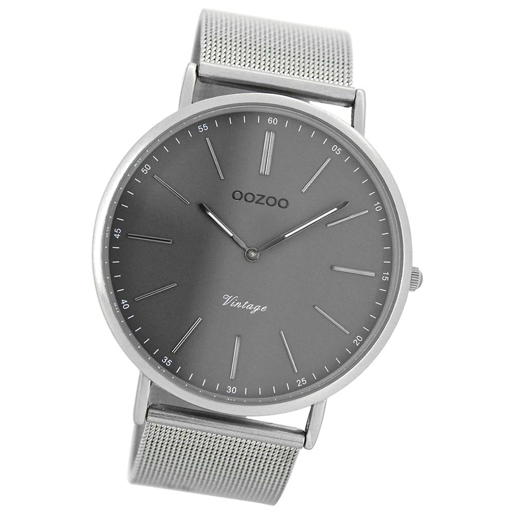 Oozoo Herren-Uhr Ultra Slim Quarzuhr Metall-Armband silber grau UOC7382