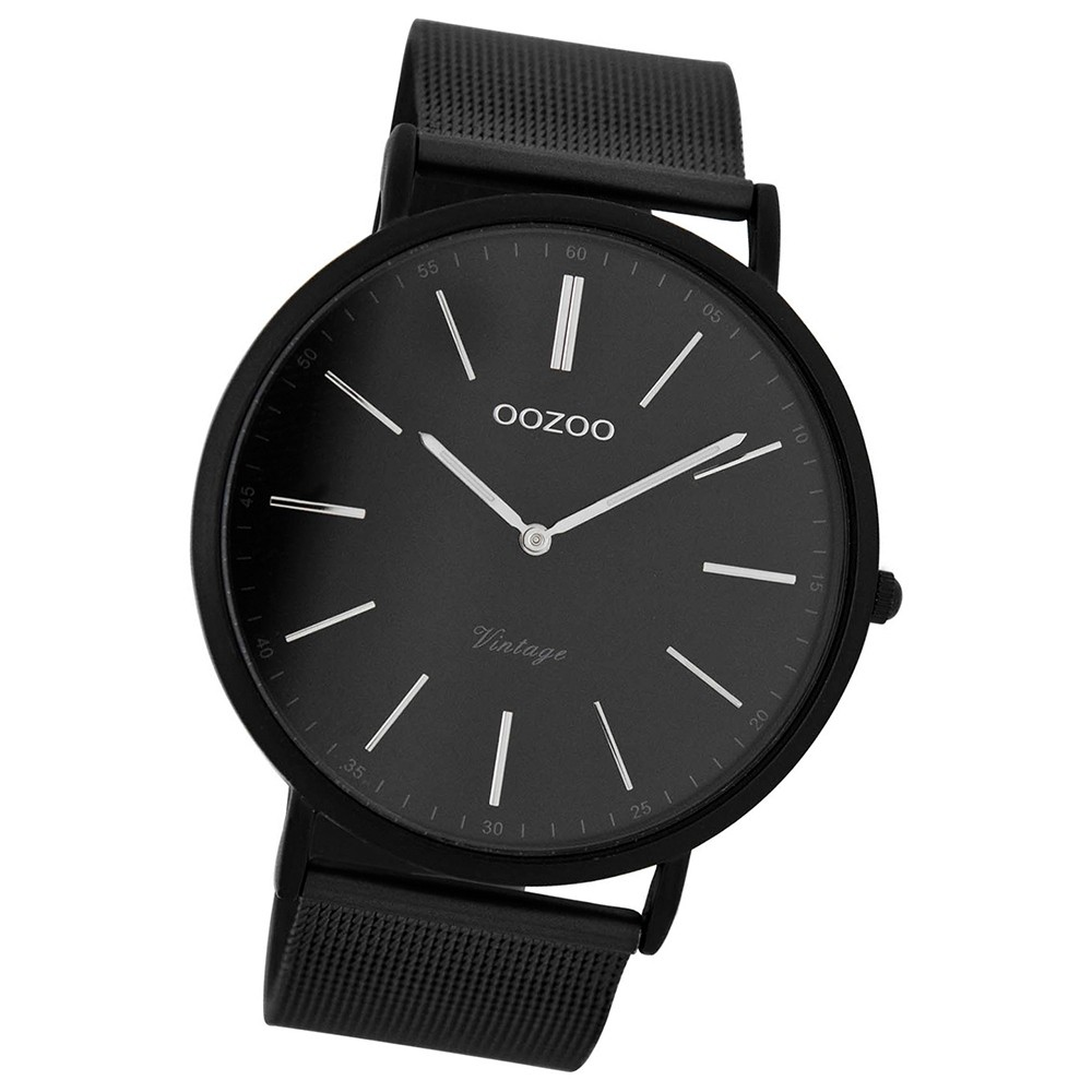 Oozoo Damen Herren-Uhr Ultra Slim Quarzuhr Metall-Armband schwarz UOC7383