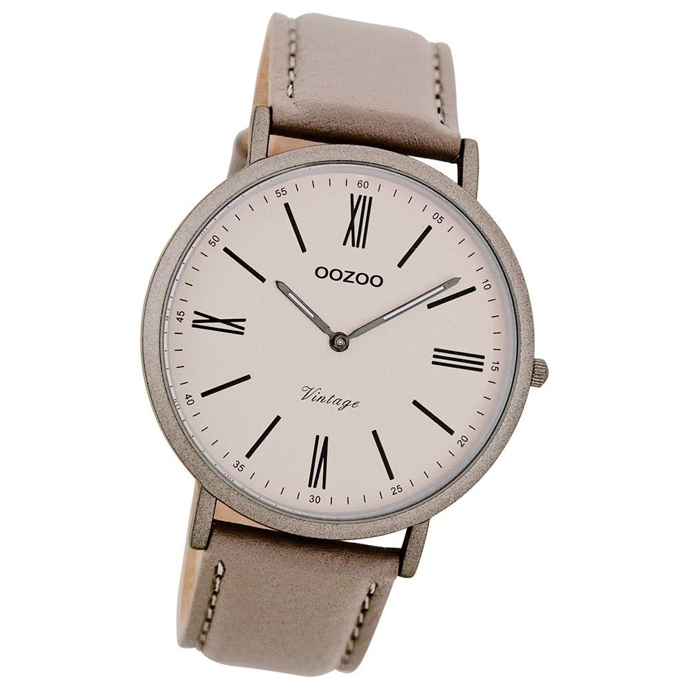 Oozoo Damen Herren-Uhr Ultra Slim Quarzuhr Leder-Armband taupe braun UOC7711
