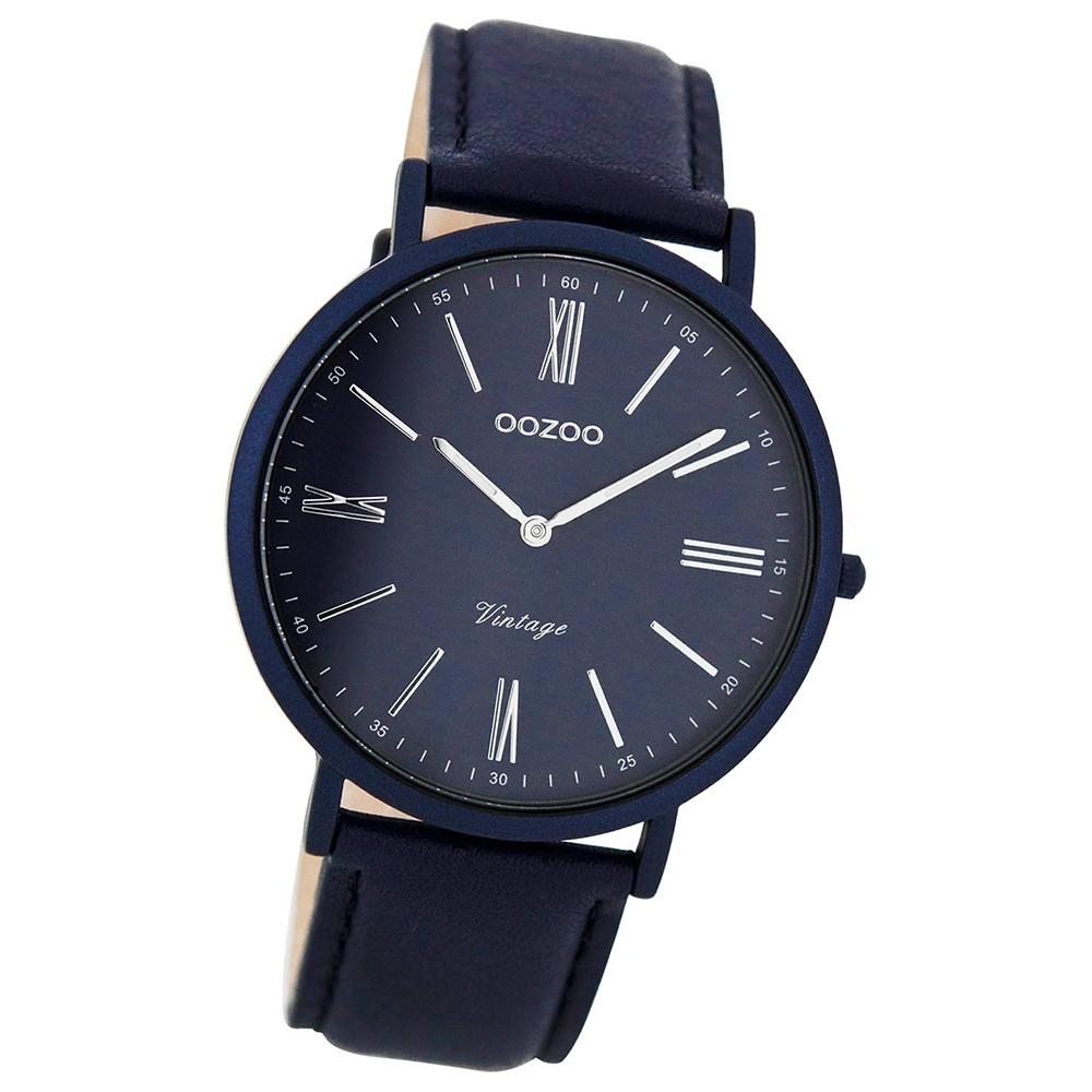Oozoo Damen Herren-Uhr Ultra Slim Quarzuhr Leder-Armband dunkelbraun UOC7712