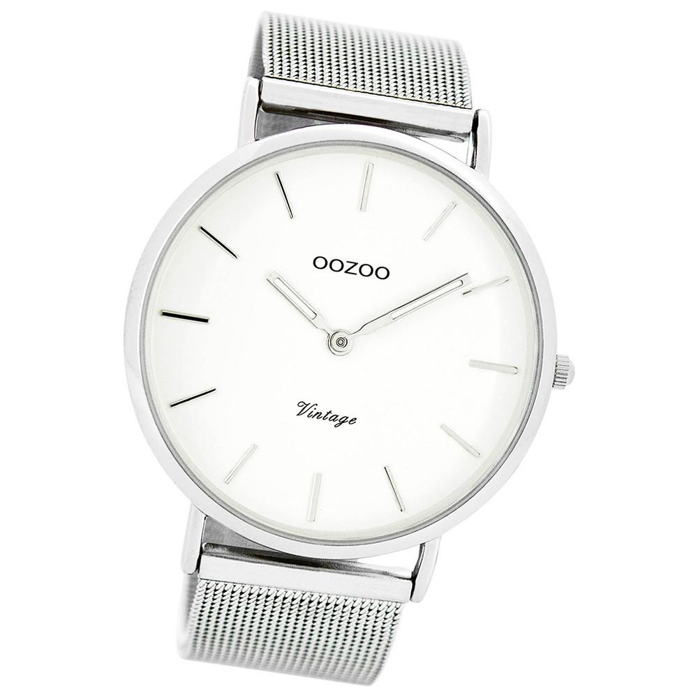 Oozoo Damen Herren-Uhr Ultra Slim Quarzuhr Metall-Armband silber UOC7720