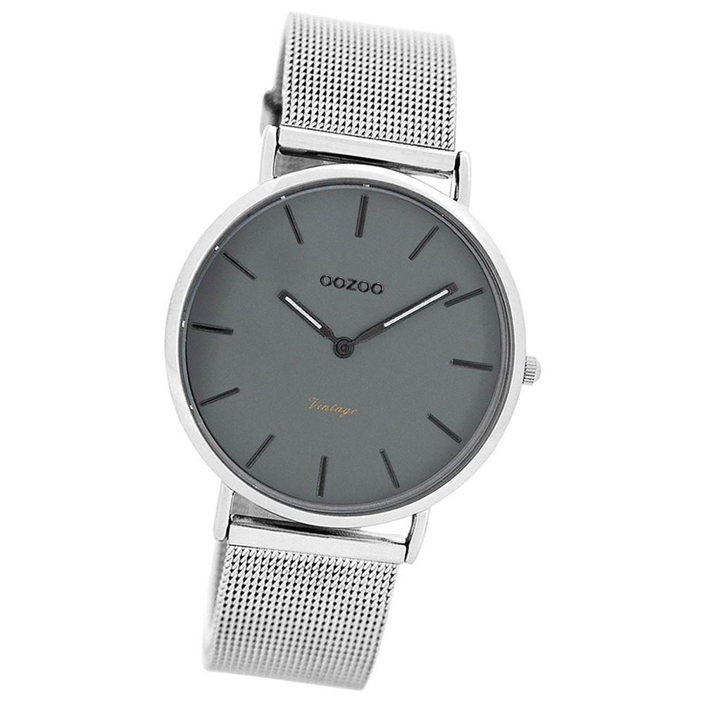 Oozoo Damen-Uhr Ultra Slim Quarzuhr Metall-Armband silber UOC7729