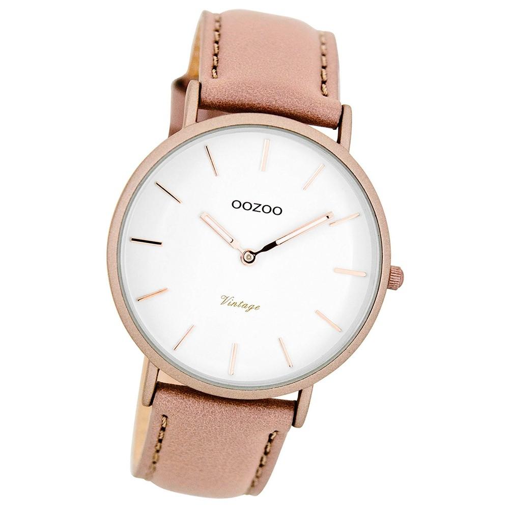 Oozoo Damen-Uhr Ultra Slim Quarzuhr Leder-Armband pinkgrau nude UOC7738