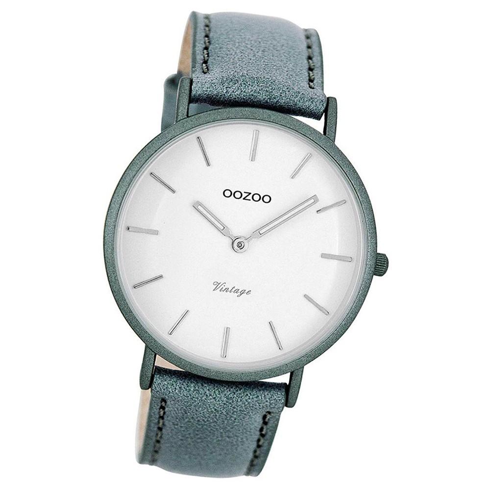 Oozoo Damen-Uhr Ultra Slim Quarzuhr Leder-Armband aquagrau blaugrau UOC7739