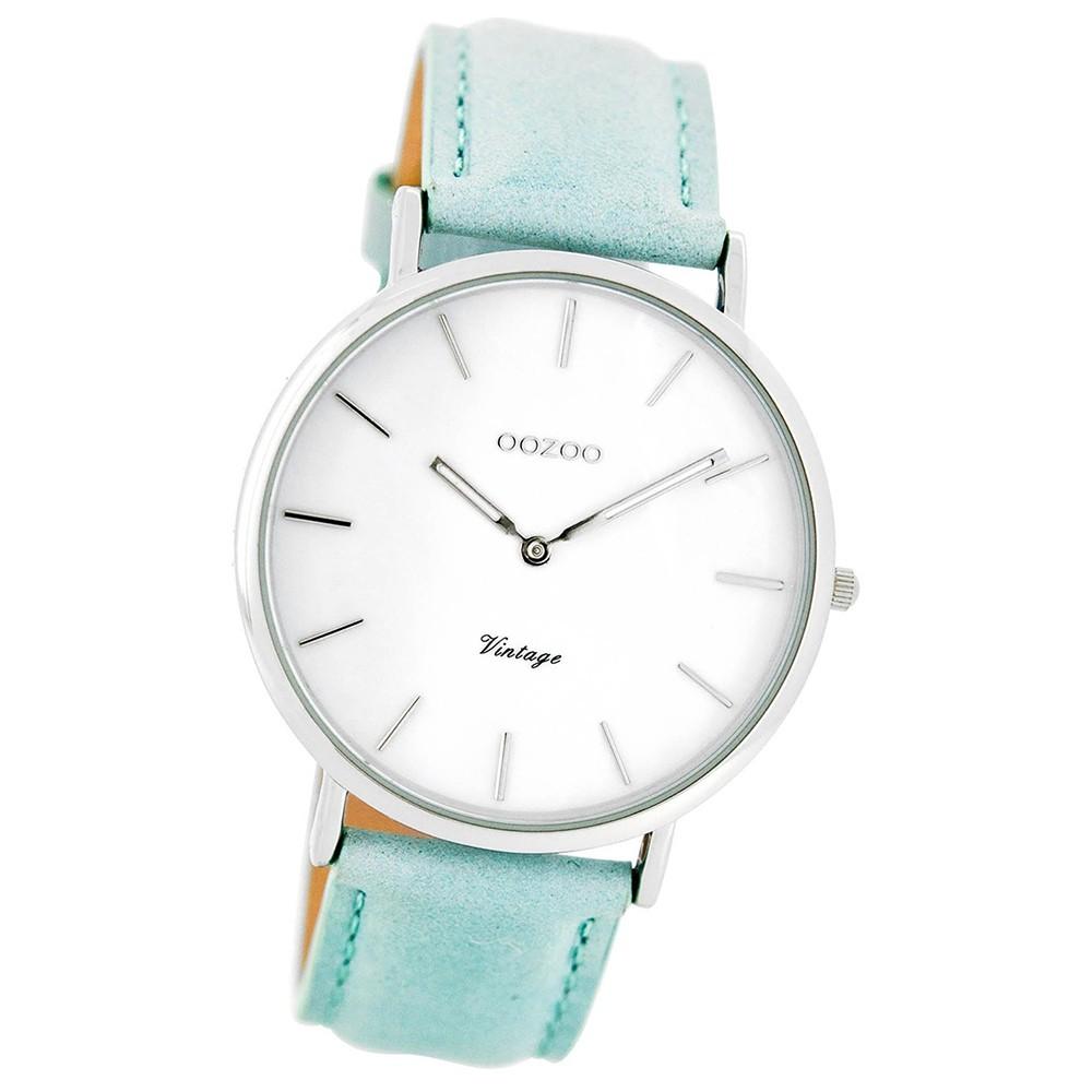Oozoo Damen-Uhr Ultra Slim Quarzuhr Leder-Armband mintgrün UOC7767