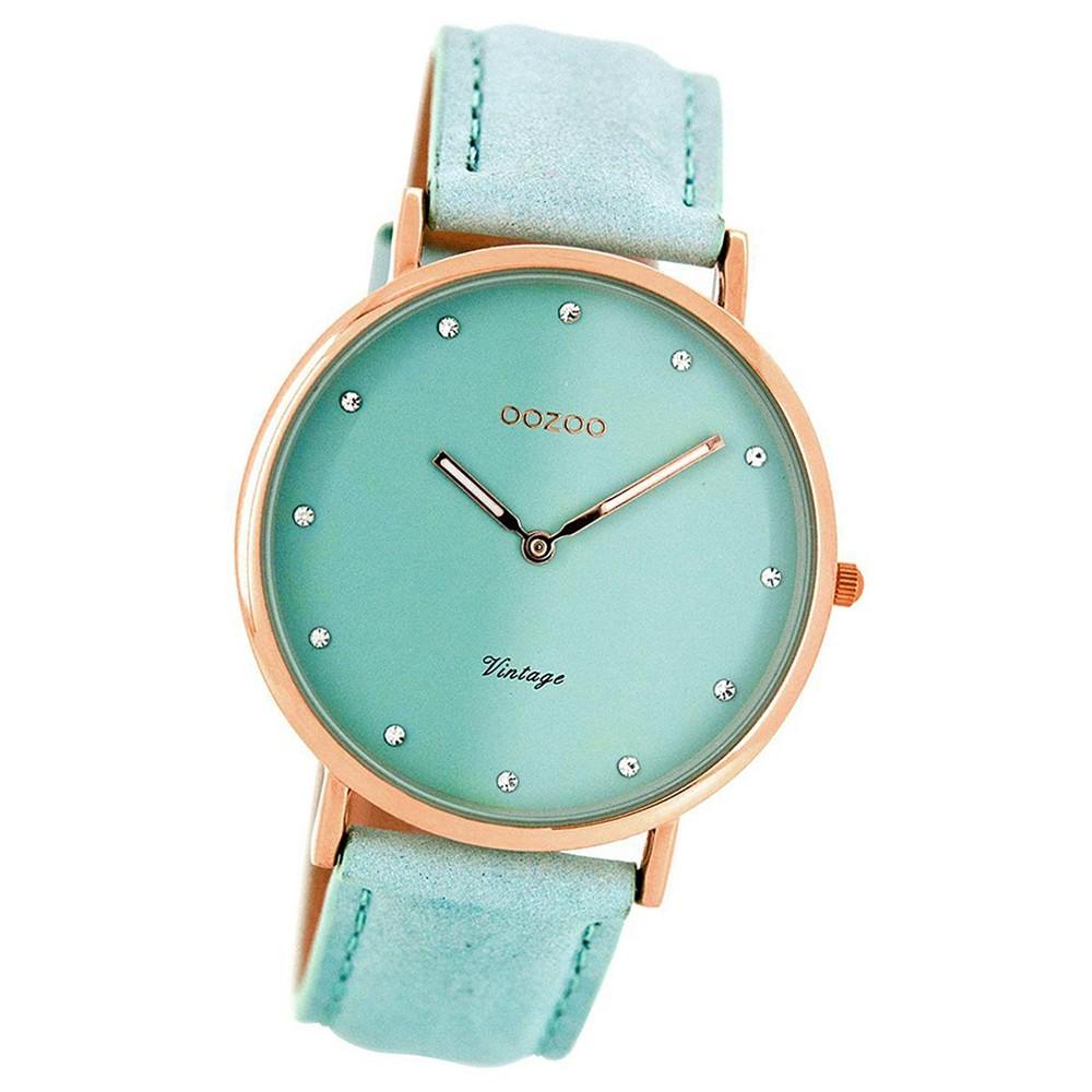 Oozoo Damen-Uhr Ultra Slim Quarzuhr Leder-Armband mintgrün UOC7773