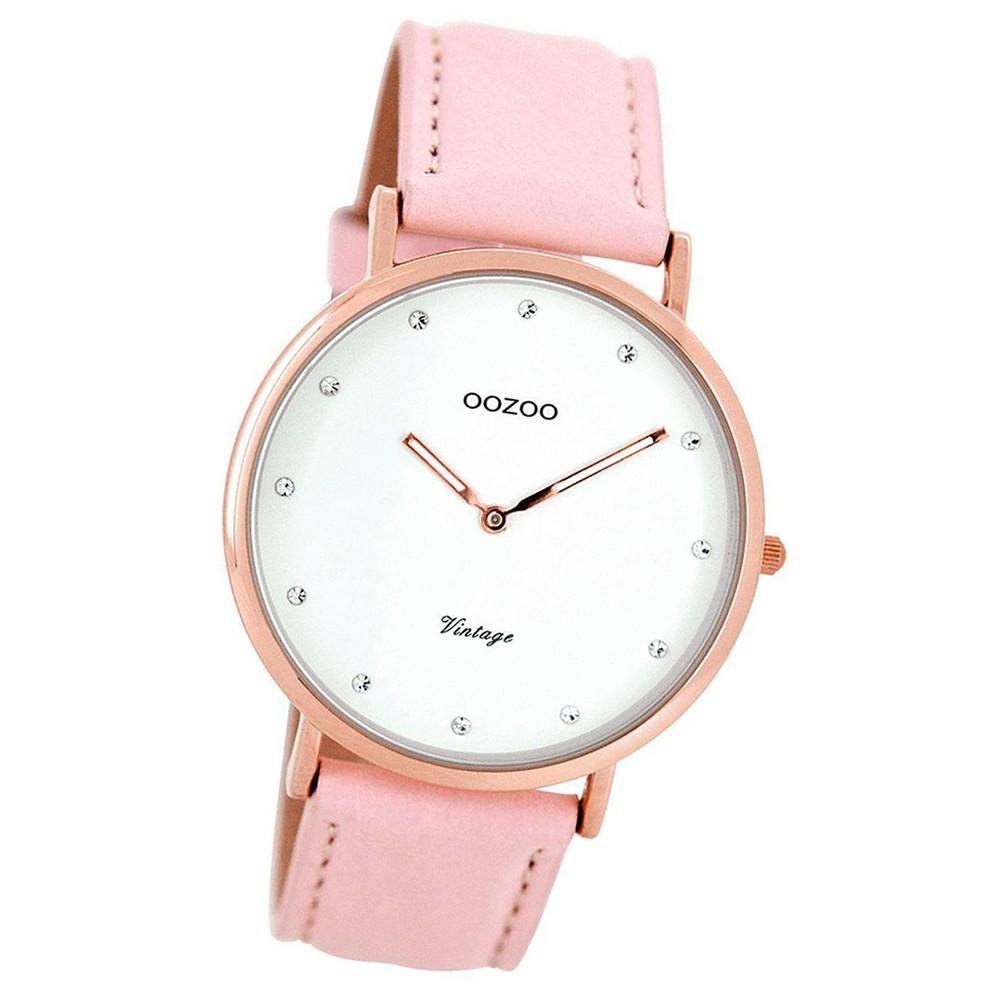 Oozoo Damen-Uhr Ultra Slim Quarzuhr Leder-Armband rosa UOC7775
