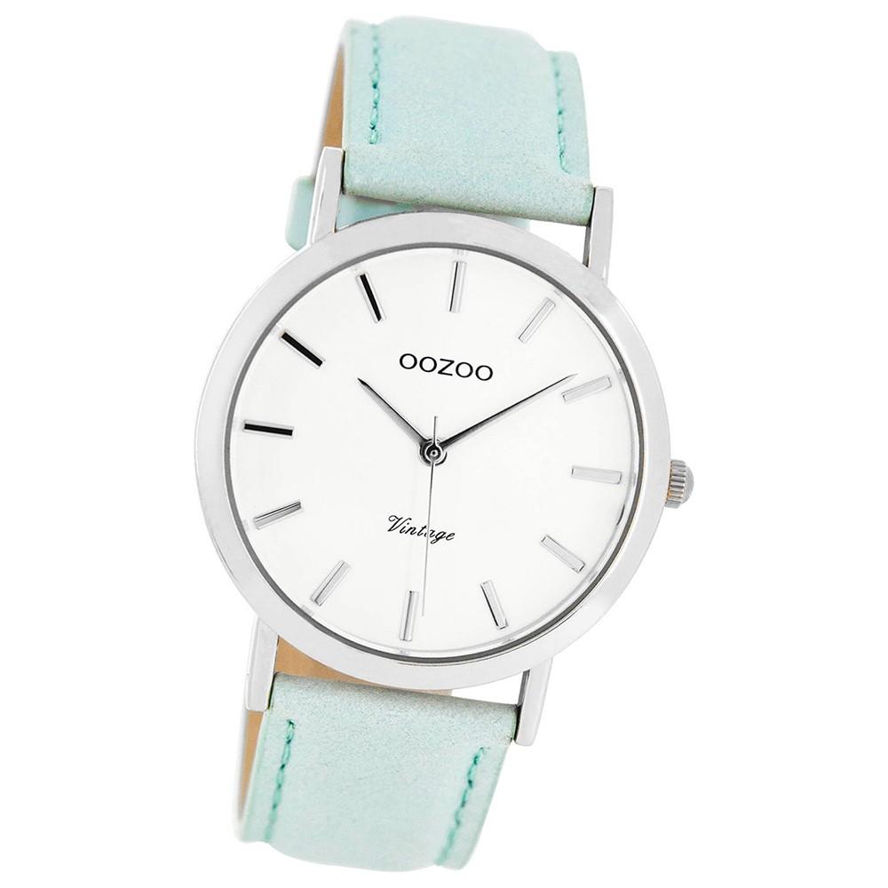 Oozoo Damen-Uhr Ultra Slim Quarzuhr Leder-Armband mintgrün UOC8100