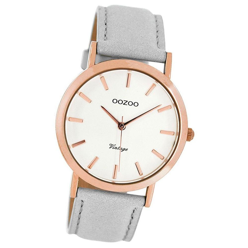 Oozoo Damen-Uhr Ultra Slim Quarzuhr Leder-Armband steingrau UOC8105
