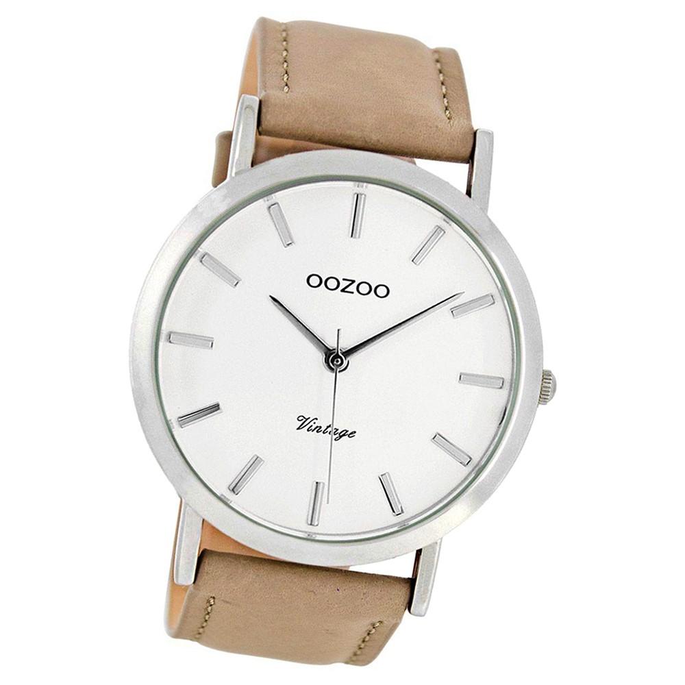 Oozoo Herren-Uhr Ultra Slim Quarzuhr Leder-Armband sand beige hellbraun UOC8115