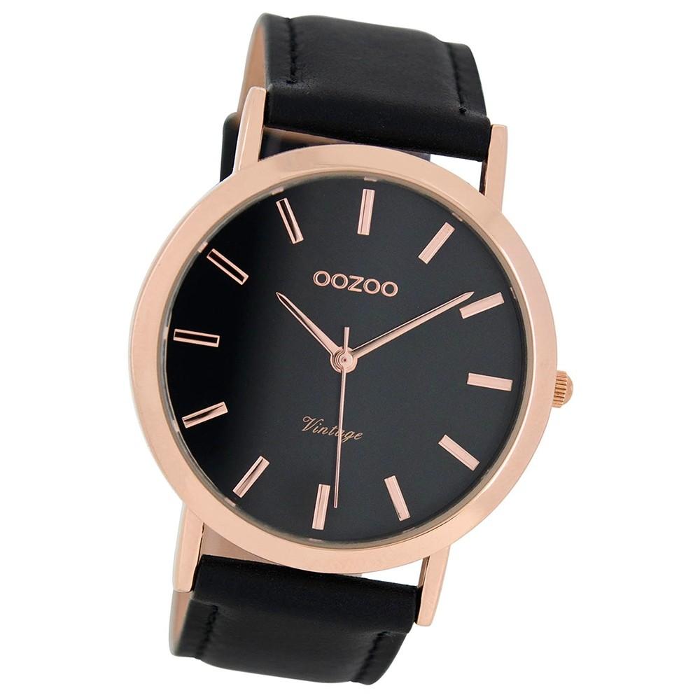 Oozoo Herren-Uhr Ultra Slim Quarzuhr Leder-Armband schwarz UOC8119